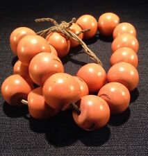 21 Piece Antique Necklace Rare Sherpa Coral Glass Trade Beads - Strand E