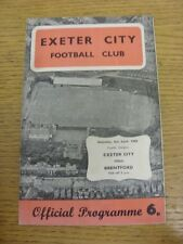 06/04/1968 Exeter City v Brentford  (folded, creased). Trusted sellers on ebay b