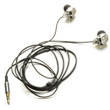 Silver Skull Heads 3.5mm Port Metal Headset Earphones For Phone MP3 iPads