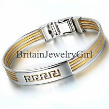 Men's Greek Key Stainless Steel Twisted Cable Five Strand Bracelet Cuff Bangle