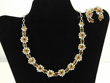 Lisner Vintage Necklace and Earring Set Brown Topaz Aurora Borealis Rhinestones