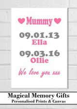 OUR STORY Mothers day mum mummy nanna grandma  dates personalised a3 canvas gift