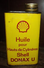 ANCIEN BIDON D'HUILE 1L . SHELL DONAX U . CAN OIL MOTOR . DÉCO GARAGE