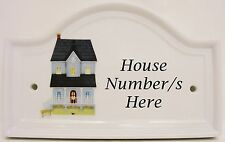 Mayfair Blue House Door Number Plaque Ceramic House Sign Door Any Number Availab