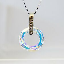 925 Sterling Silver Necklace CZ Swarovski Elements Crystal Clear AB Fancy Stone