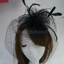 Women Headband Hair Clip Veil Feather Black Hair Accs Fascinator Veil Bridal