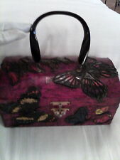 red decoupage vintage box handbag with raised butterflies beautiful!!!!