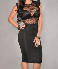 WOMENS BLACK MIDI LACE PARTY CLUB WEAR BODYCON DRESS EVENING PARTY UK SIZE 16 18