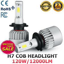 2X H7 120W 12000LM COB LED HEADLIGHT BULBS HIGH BEAM LAMP KIT 6500K WHITE POWER