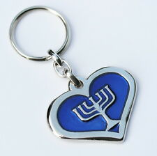 Heart of Love Jerusalem Jewish Temple Menorah KEYCHAIN Key Ring Traveler Prayer
