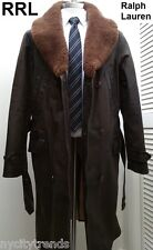 RRL Ralph Lauren fur leather jacket shearling trench over coat L brown double RL