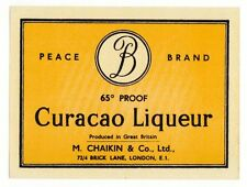 CURAÇAO Liqueur  Peace Brand M. Chaikin & Co. Ltd. LONDON Etikett label