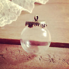 DIY Clear Globe Glass Bottle Pendant, Antique Bronze Top, Terrarium Apothecary