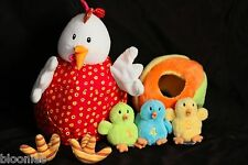 Lilliputiens OPHELIE Chicken Duck Rooster Plush Toy Doll w/ Chick Finger Puppets