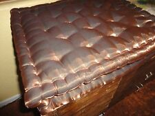 LARGE GOLD BRONZE GUSSETED TUFTED BENCH SEAT CUSHION OBLONG PILLOW 18 X 20 X 3