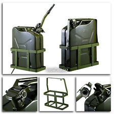 Jerry Can 5 Gallon 20L Gas Fuel Army NATO Military Metal Steel Tank Holder NEW