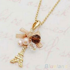Women Golden Tone Natty Jewelry Eiffel Tower Pendant Chain Choker Necklace