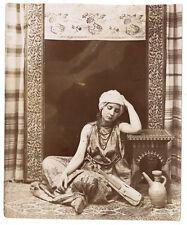 Photo Maroc Algérie vers 1880 femme musicienne à l'orientale / mauresque Africa