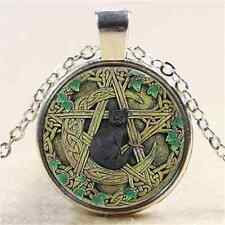 Black Cat Wicca Cabochon Tibetan silver Glass Chain Pendant Necklace #656