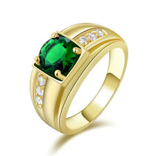 Halo Men's Yellow Gold Filled Green Emerald Engagement Wedding Rings  Size 10
