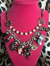 Betsey Johnson Film Noir Hollywood Camera Movie Star Skull Lipstick Necklace