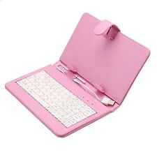 Foldable Hard Cover Case Stand with Laptop USB Keyboard for 7' Tablet - Pink