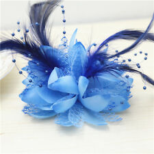 New Headdress Flower Feather Pearl HEADBAND Brooch Clip Party Wedding Sapphire