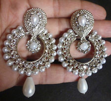 Vintage Antique Silver Plated Pearl Round Drop Indian Jhumka Earrings Bridal /