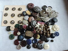 Lot Vintage Metal Glass Plastic Sewing Buttons Victorian & More (hh765)