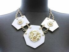 Gold 3X LION HEAD Statement Necklace & Earrings Set OCT ACYRLIC Leo NWT