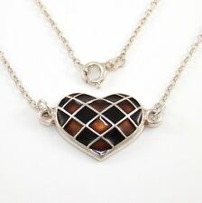 David Andersen Norway Sterling Silver Enamel Heart Pendant Rolo Chain Necklace
