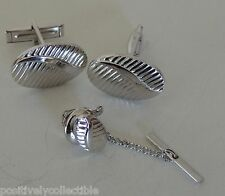 Vintage Silver Plated Etched Swirl Classic Cuff Links and Tie Set