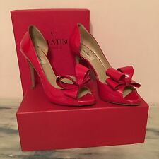 Valentino Garavani Red Patent Peep Toe D'Orsay Bow Heel Shoes Italy Size 39 $845