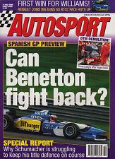 Autosport 11 May 1995 - Schumacher, Benetton B195, Thruxton BTCC, DTM, Rally.