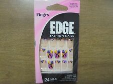 Fing'rs Edge Glue on Fashion Nails Stick On Tabs Spunky Sara 24 Nails