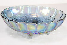 Vintage Indiana Carnival Glass Large Footed Bowl HARVEST GRAPE Iridescent Blue