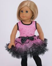 "Doll Clothes Fit 18"" Dolls Ballerina Pink Black Slipper Fits American Girl Dolls"