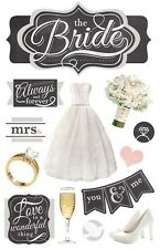The Bride Always & Forever Mrs Diamond Ring Bouquet Paper House 3D Stickers
