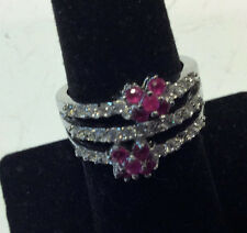 Vintage sterling silver womens ring with pink/clear stone stones,size 8.0,  J408