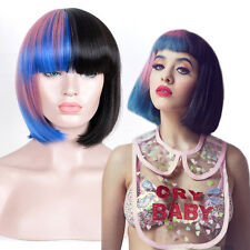 Melanie Martinez Style Fashion BOB Hair Pink Blue Black Mixed Color Cosplay Wig