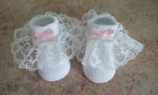 baby girls white socks with romany lace and pink bows size 0-3 month brand new