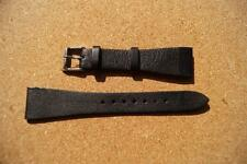 TED BAKER  BLACK  LEATHER WATCH STRAP,SIGNED STAINLESS STEEL BUCKLE,21.7MM