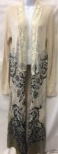 VOICE OF CALIFORNIA Boho Hippie Maxi Embellished Open Cardigan Beaded Sweater Lg