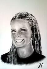 Bo Derek - ritratto portrait grafite e carboncino cm. 33 x 48