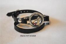 Floating Living Charm Memory Silver Crystal Locket wrap Bracelet BLACK band