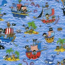 Fat Quarter Treasure Island Pirate Ships 100% Cotton Quilting Fabric Nutex 88600