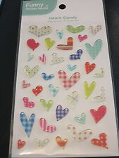 Puffy Heart Candy Sticker Sheet 3D Raised Individual Stickers Craft Scrapbook