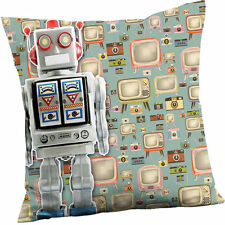 Retro Robot Cushion - Blue Super Soft Funky Cushion
