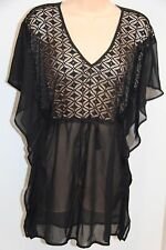 NWT Miken Swim Swimsuit Cover Up Dress Tunic Size M Black