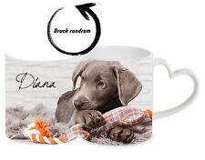Keramiktasse Labrador Welpe mit Wunschname Herz Henkeltasse Kaffeetasse
